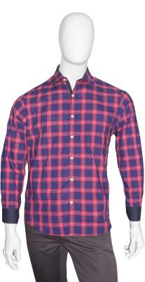 Cotton Natural Men's Checkered Casual Red, Dark Blue Shirt