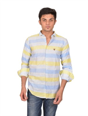 Suzee Men's Striped Casual Blue, Yellow Shirt