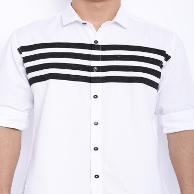 Le Bison Men's Solid Casual White Shirt