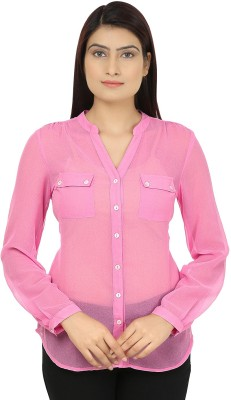 Eves Pret A Porter Women's Solid Casual Pink Shirt