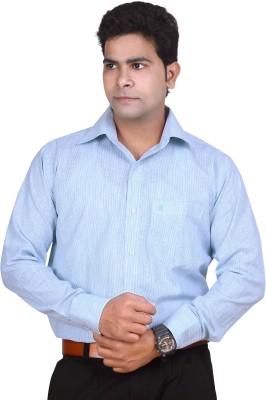 Ishin Designer Studio Men's Striped Casual Blue Shirt