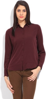 Arrow Women's Solid Formal Maroon Shirt