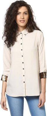 Love From India Women's Solid Casual White Shirt