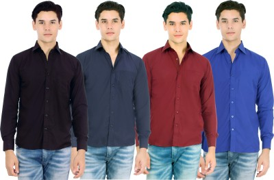 Atmosphere Men's Solid Formal Black, Blue, Maroon, Dark Blue Shirt