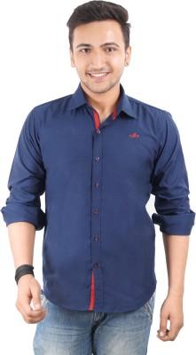 High Hill Men's Solid Casual Blue Shirt