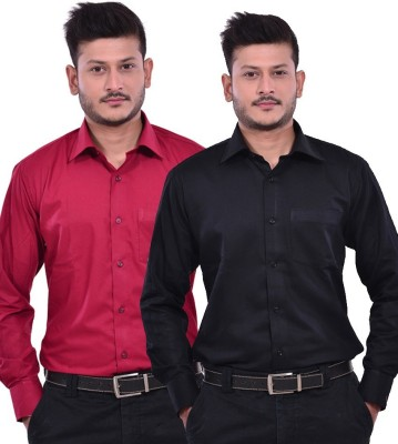 Royal Kurta Men's Solid Formal Maroon, Black Shirt