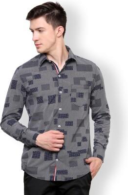 Blackbuk India Men's Geometric Print Casual Grey, White Shirt