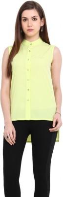Stykin Women's Embellished Casual Green Shirt