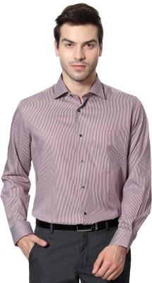 Van Heusen Men's Striped Casual Maroon Shirt