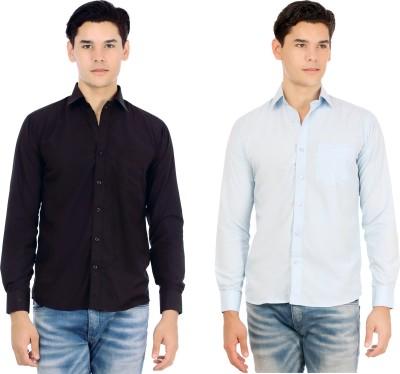 Atmosphere Men's Solid Casual Black, Light Blue Shirt