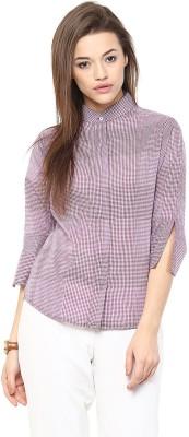 The Office Walk Women's Checkered Formal Pink Shirt