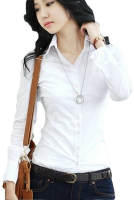 Indicot Women's Printed Casual White Shirt