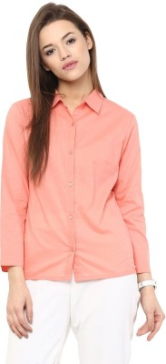 The Office Walk Women's Solid Formal Pink Shirt