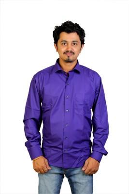 Egoist Men's Solid Formal Purple Shirt