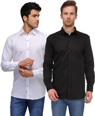 Feed Up Men's Solid Casual White, Black Shirt