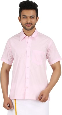 MEENAVISION Men's Solid Formal Pink Shirt