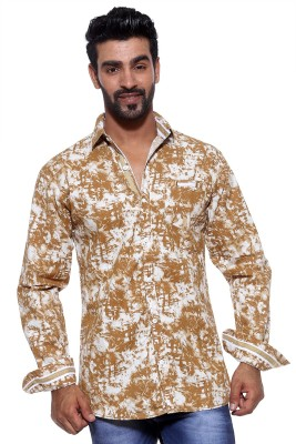 FIFTY TWO Men's Printed Casual Brown Shirt