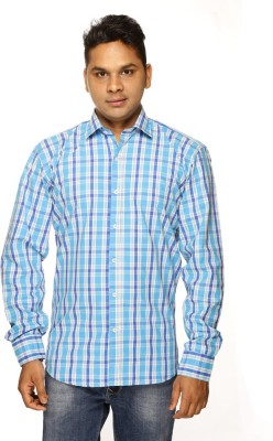 ALBI NYC Men's Checkered Formal Light Blue Shirt