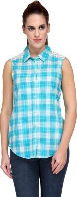 Kiosha Women's Checkered Casual Light Blue, White Shirt