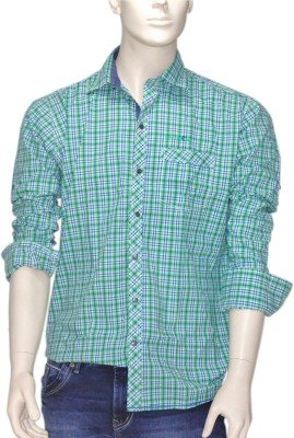 Exin fashion Men's Checkered Casual Green Shirt
