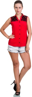 Colbrii Women,s Solid Casual Red Shirt