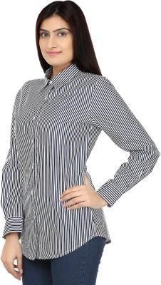 Eves Pret A Porter Women's Striped Casual Blue, White Shirt