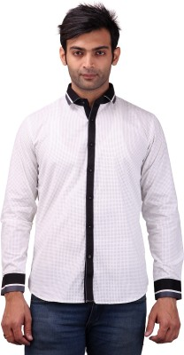 Clubstone Men's Printed Casual White Shirt