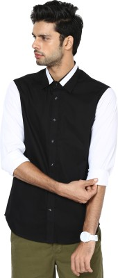 See Designs Men,s Solid Casual Black, White Shirt