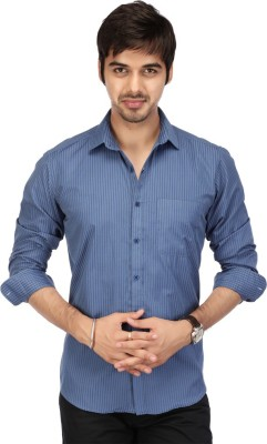 Acropolis Men's Striped Formal Blue Shirt
