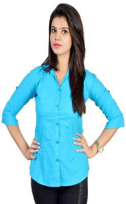 Jazzy Ben Women,s Solid Formal Light Blue Shirt