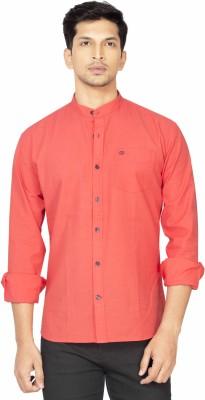 La Seven Men,s Solid Casual Orange Shirt
