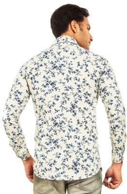 Trinath Men's Printed Casual White Shirt
