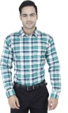 Euromens Men's Checkered Formal Green Sh...