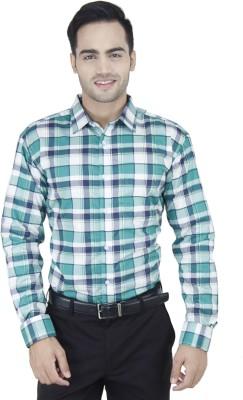 Euromens Men's Checkered Formal Green Shirt