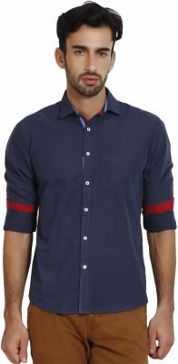 I-Voc Men,s Solid Casual Dark Blue Shirt