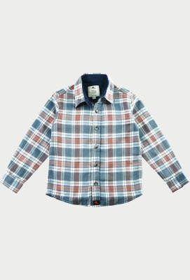 Cherry Crumble California Boy's Checkered Casual Blue, Orange Shirt