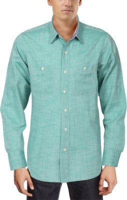 Roar and Growl Men,s Solid Casual Green Shirt