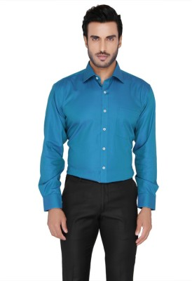 Blacksmith Men's Self Design Formal Blue Shirt