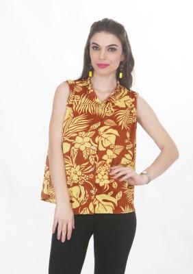 Ten on Ten Women's Printed Casual Brown, Yellow Shirt