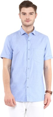 FUNK Men's Solid Casual Blue Shirt