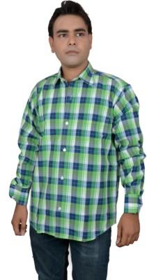 Jais Men's Checkered Casual Green Shirt