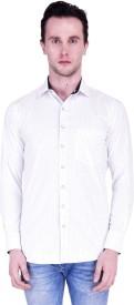 Protext Premium Men's Self Design Formal White Shirt