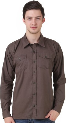 4 Stripes Men's Solid Casual Brown Shirt