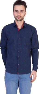 Threadikshion Men's Polka Print Casual Blue Shirt