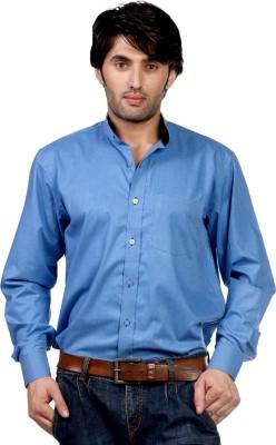 Hugo Chavez Men's Solid Formal Blue Shirt