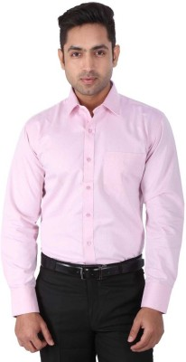 Warewell Men's Printed Formal Pink Shirt