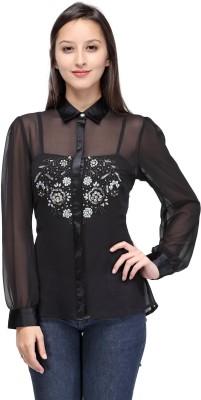 Gloria Women's Solid Party Black Shirt