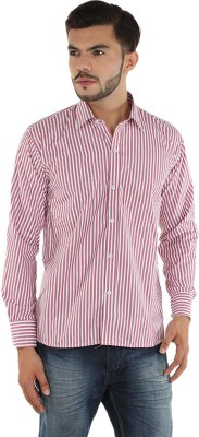FDS Men,s Striped Casual Pink, White Shirt