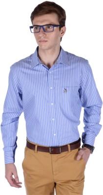 FRANK JEFFERSON Men's Striped Formal Light Blue Shirt