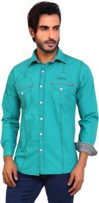 Monarch Men's Solid Casual Light Green Shirt